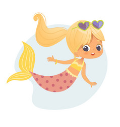 cute mermaid beautiful child character graphic art vector image