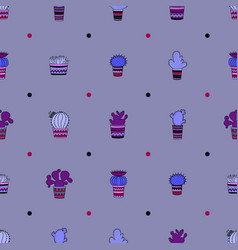 Cute seamless pattern with cactuses vector