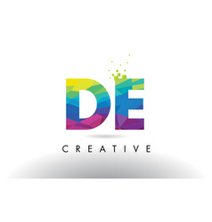 De d e colorful letter origami triangles design vector