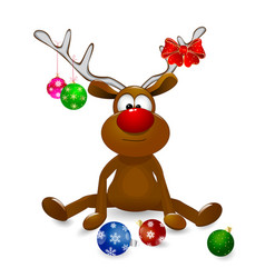 deer and christmas tree decorations vector image