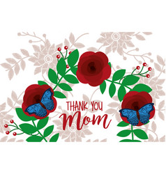 delicate invitation with flowers for thank mom vector image