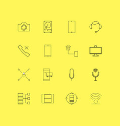 Devices linear icon set simple outline icons vector