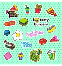 Fashion patch badges Pop art Fast food set vector image