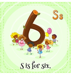 Flashcard of letter Six vector