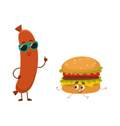 funny smiling sausage and hamburger characters vector image