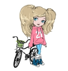 Girl with a Bicycle vector image