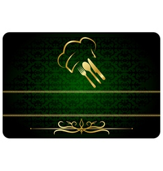 Green decorative restaurant man card vector
