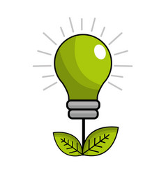 Green energy bulb with leaves icon vector