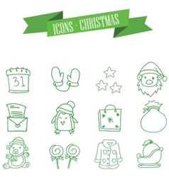 Green icons of Christmas collection vector