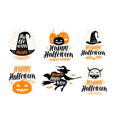 halloween banner holiday greeting card label vector image