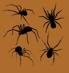 Halloween spiders silhouette set vector