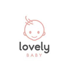 happy baby toddler babies outline logo design vector image