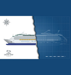 Isolated blueprint cruise ship side view vector