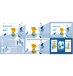 isometric reaching goal in any way get victory vector image