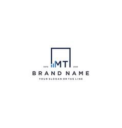 Letter mt square logo finance design vector