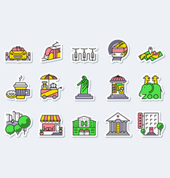locations and city icons set in line simple and vector image