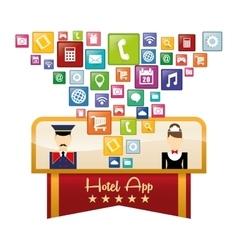 Maid bellboy and hotel digital apps design vector