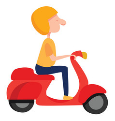 Man on a moped on white background vector