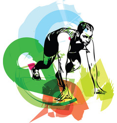 man ready to run on the track vector image