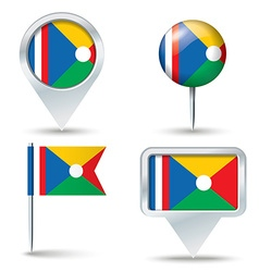 Map pins with flag of Reunion vector