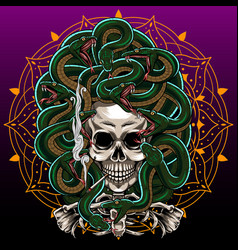 Medusa skull esport mascot logo design vector