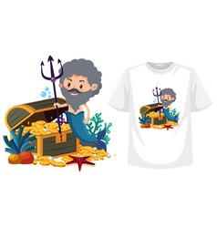 merman on shirt mock up vector image