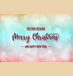 merry christmas colorful background with snowflake vector image