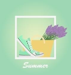 Mint Sneakers shoes lavender basket Summer vector image