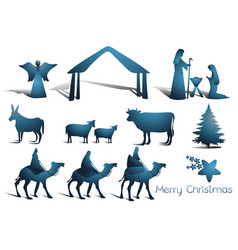 Nativity scene elements vector