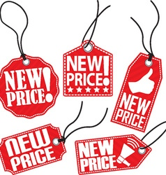 New price red tag set vector image