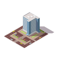 Offices isometric town apartment building with vector