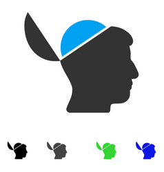 Open brain flat icon vector