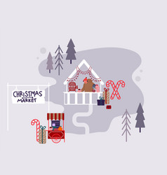 people character on christmas market or holiday vector image