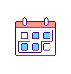 Period marked on calender rgb color icon vector