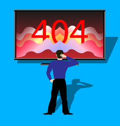 Person in front of the monitor showing error 404 vector