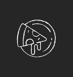 pizza plates chalk white icon on dark background vector image