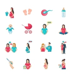 Pregnancy Icons Flat vector