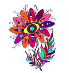 psychedelic vintage flowerwith eye vector image