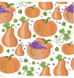 pumpkin fun halloween seamless pattern vector image