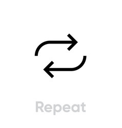 Repeat music player icon editable line vector