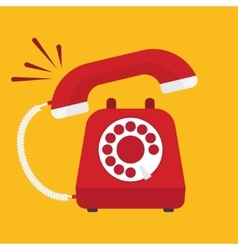 Retro styled red telephone ringing vector