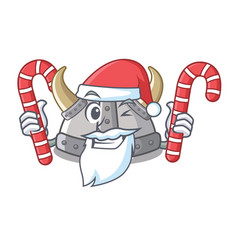 Santa with candy viking helmet in a cartoon vector