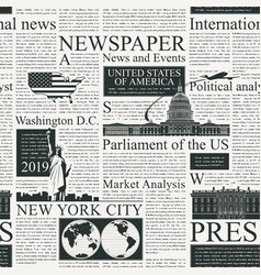 seamless pattern on theme us newspapers vector image