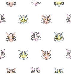 seamless pattern with tiger heads scandinavian vector image