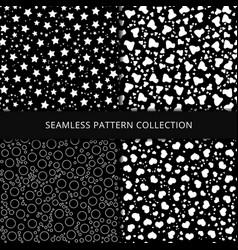 Seamless patterns on black background stars vector