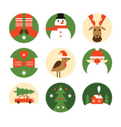 set christmas emblems vector image