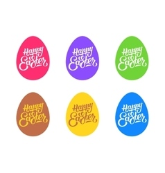 set flat easter eggs isolated on white vector image