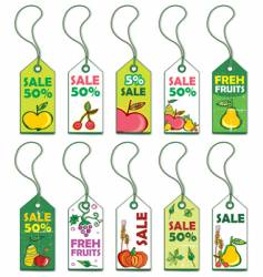 set of fruits tags vector image
