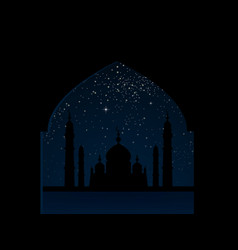 silhouette mosque on starry sky arabic night vector image
