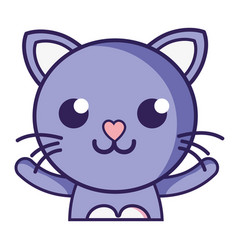 Smile cat adorable feline animal vector